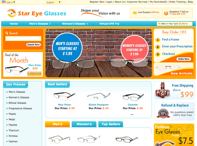 Star Eye Glasses Home Page